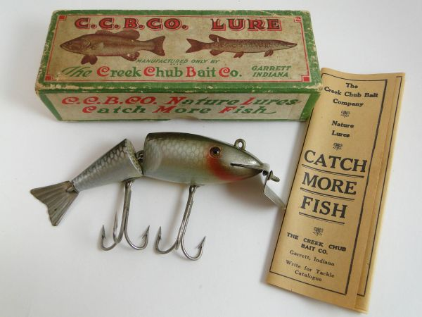 Creek Chub Wigglefish OLD!!! 1920's With Catalog & Correct Box! Early Stamped 2401 Correct For Silver Shiner pre 1925