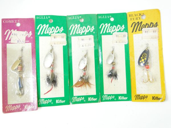 Mepps Aglia Black Fury Comet Spinner Baits Fishing Lures X5
