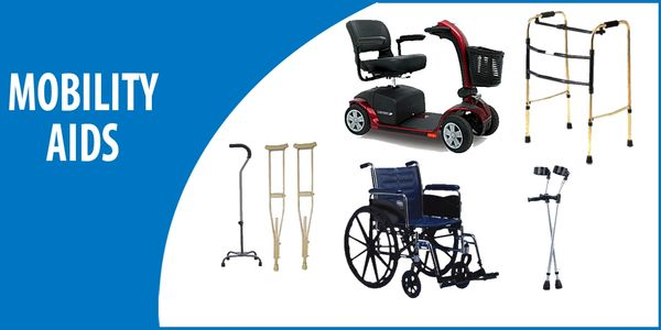 Mobility aids (rollators, scooters, walkers, canes, crutches, etc.