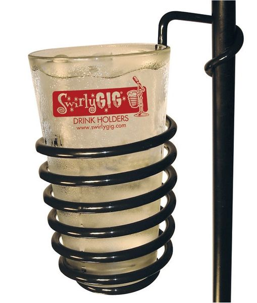 SwirlyGig MIC OR DRUM STAND DRINK HOLDER FOR STANDARD SIZE WATER OR SODA BOTTLE