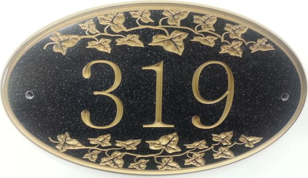 Address Plaque 8 X 13 CORIAN IVY OVAL