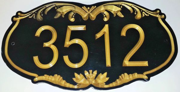 Address Plaque 8 X 16 CORIAN ORNATE