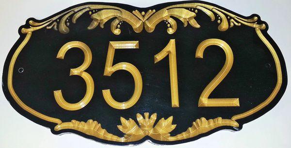 Address Plaque 8 X 16 CORIAN ORNATE