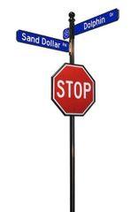 STREET SIGNS-(10) 30X30 STOP DOUBLE STREET W-LOGO