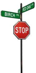 STREET SIGNS-(30) DBL STREET W-LOGO 30X30 STOP