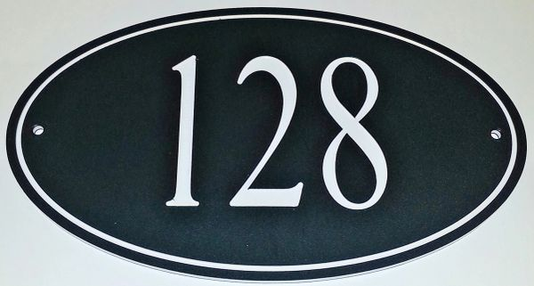 Address Plaque COLOR CORE OVAL WHITE ON BLACK