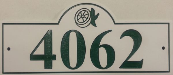 Address Plaque 6 X 13 COLOR CORE GREEN ON WHITE