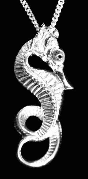 Silver Sea Horse Pendant on Silver Chain
