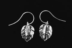 Monstera Leaf Silver Earrings