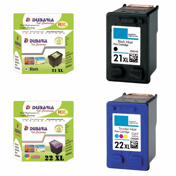 Dubaria 21 XL Black & 22 XL TriColor Ink Cartridge Compatible For HP 21 XL & 22 XL - Combo Value Pack - High Yield Cartridges