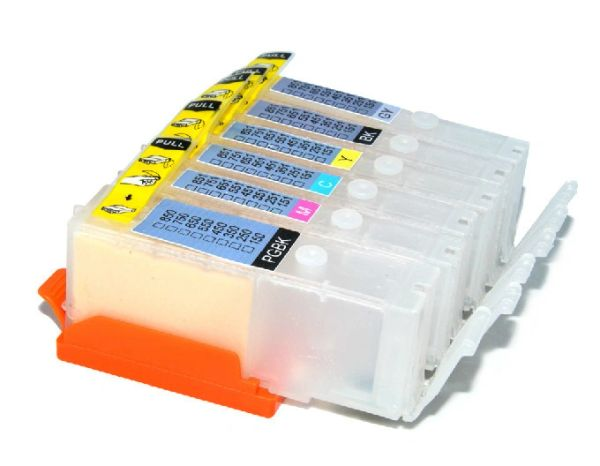 Dubaria Empty Refillable Cartridge For Canon MG 6350 / 7150 / IP 8750 / 8770 Printers Compatible With Canon 750 / 751 Grey - 6 Colors