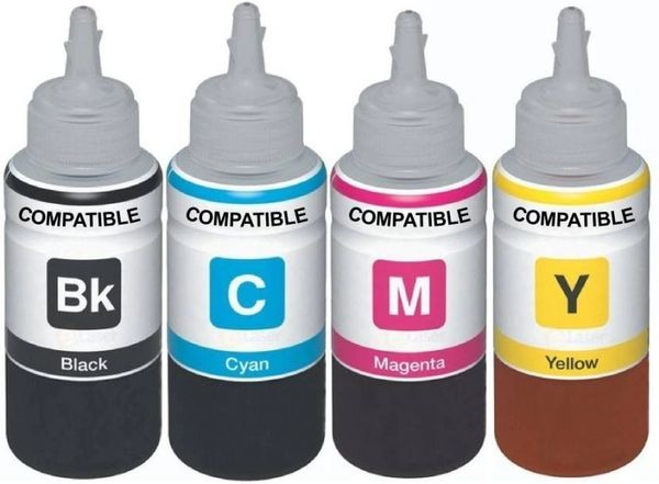 Dubaria Refill Ink For Use In HP 970, 971, 972, 973, 974, 975, 976, 980, 981 Ink Cartridges - Cyan, Magenta, Yellow & Black - 100 ML Each Bottle