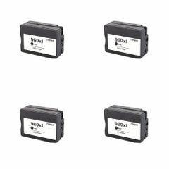 Dubaria 960 XL Black Ink Cartridge Compatible For HP 960XL / CZ665AA Black Ink Cartridge For OfficeJet Pro 3610, 3620 Printers - Pack of 4