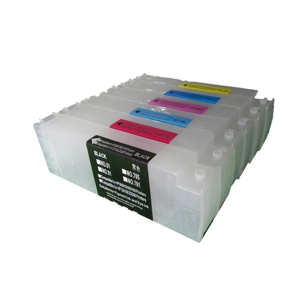 Dubaria 705 Empty Refillable Ink Cartridges For HP DesignJet 5100, 4000, 4500 Plotter Printer - 800 ML Tank - 6 Colors - With Chips