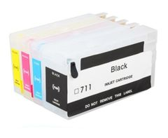 Dubaria Empty Refillable Cartridge For HP T 120 / 520 / 920 Printers Compatible With HP 711 All Four Colors