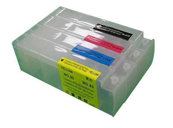 Dubaria Empty Refillable Ink Cartridges For Compatible For HP 90 Ink Cartridges For Use In HP DesignJet 5100, 4000, 4500 Plotter Printer - 800 ML Tank - 4 Colors - With Chips