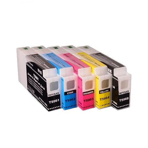 Dubaria Empty Refillable Ink Cartridge Compatible For Epson Stylus 9700, 9890, 9900, 7700, 7890, 7900 Printers - T5961, T5962, T5963, T5964, T5968 - 350 ML - 5 Colors
