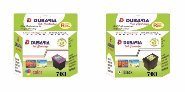 Dubaria 703 Black & Color Ink Cartridge Combo For HP 703 Ink Cartridge