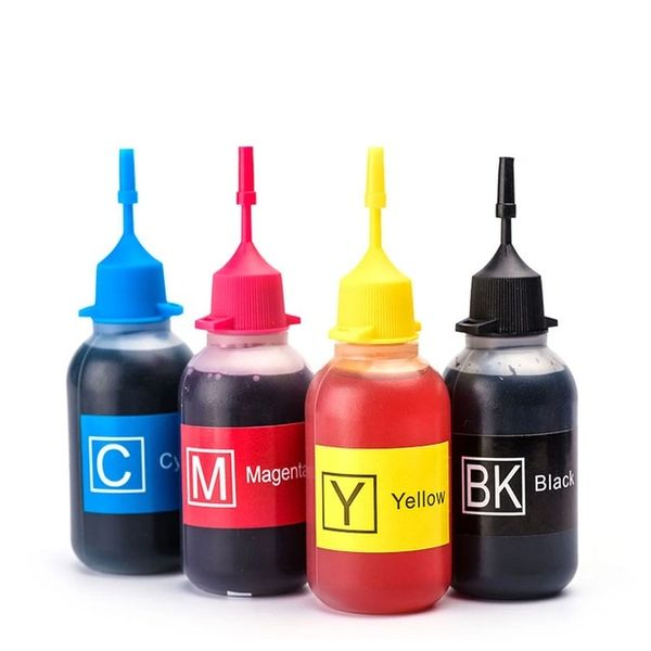 Dubaria Refill Ink Universal For HP, Canon, Brother, Samsung InkJet Cartridges & Ink Tanks Printers - Cyan, Magenta, Yellow & Black - 30 ML Each Bottle