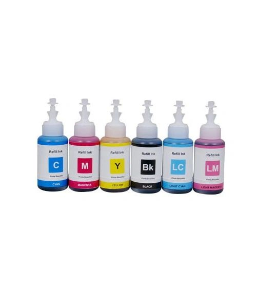 Dubaria Refill Ink For HP 177 Ink Cartridges - Black, Cyan, Yellow, Magenta, Light Cyan, Light Magenta - 100 ML Each Bottle
