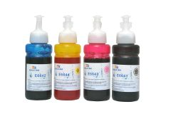 StarInk E6641, E6642, E6643 & E6644 Compatible Refill Ink For Epson E6641 For Use In Epson L100 / L110 / L130 / L200 / L210 / L220 / L300 / L350 / L355 / L365 / L485 / L550 Printers - 70 ML Each Bottle - Cyan, Magenta, Yellow & Black