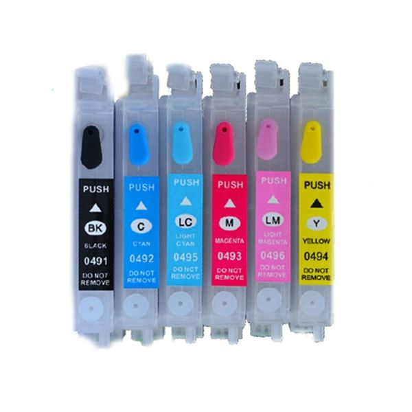 Dubaria Empty Refillable Cartridge For Epson Stylus Photo R210 / R230 / R231 / RX510 / RX630 / RX650 Printers Compatible With Epson T0491-T0496 Ink Cartridges