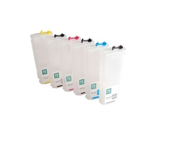Dubaria Empty Refillable Cartridge For HP T920, T930, T1500, T1530, T2500, T2530 Plotter Without Chip Printers Compatible With HP 727 All Six Colors