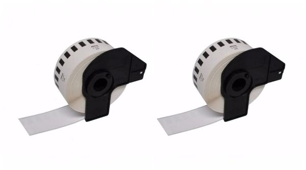 "Dubaria Compatible Thermal Roll For Brother DK-2210 Compatible 1-1/7"" x 100' (29mm x 30.48M) Continuous White Label - Pack of 2 Rolls"
