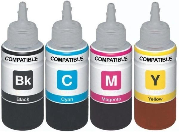 Dubaria Refill Ink For Epson L100 / L110 / L200 / L210 / L220 / L300 / L350 / L355 / L365 / L380 / L550 - 100 ML Each Bottle - Cyan, Magenta, Yellow & Black