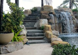 A Florida waterfall company building pool waterfalls