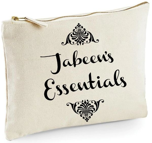 Personalised Zipped Bag Accessory Case Pouch Cream