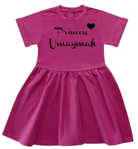 Girls Personalised Princess Name Baby Toddler Dress