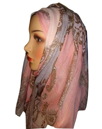 Womens Ladies Pink and Brown Hijab