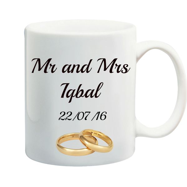 Personalised Mr & Mrs Wedding Rings Mug Set