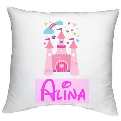 Personalised Name Girls Princess Castle Cushion Muslim Gift