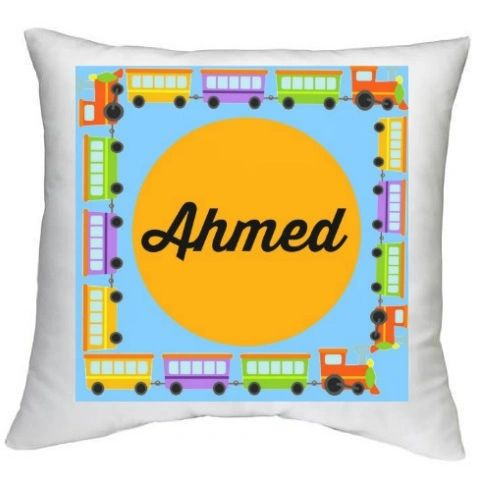 Personalised Name Train Vehicles Cushion Muslim Gift