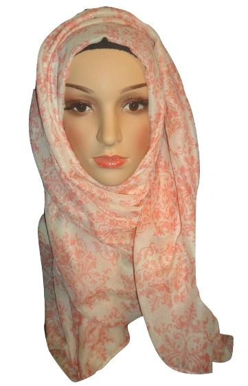 Womens Ladies Pink Damask Hijab Maxi Scarf