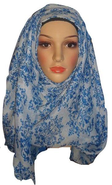 Womens Ladies Blue White Damask Hijab Maxi Scarf