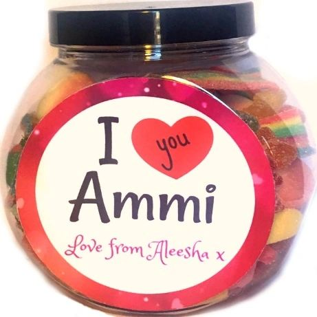 Personalised I Love you Ammi Pick N Mix Halal Sweet Jar Gift
