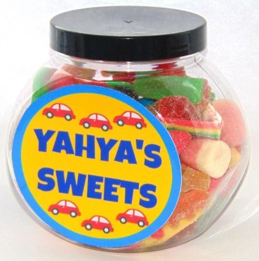 Personalised Cars Boys Pick N Mix Halal Sweet Jar Gift