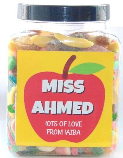 Personalised Teacher Large Sweets Jar Pick N Mix Halal Sweet Jar Gift