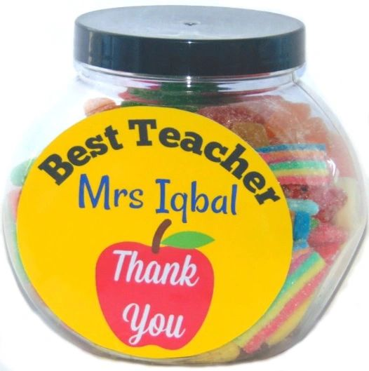 Personalised Thank You Best Teacher Halal Sweet Jar Gift