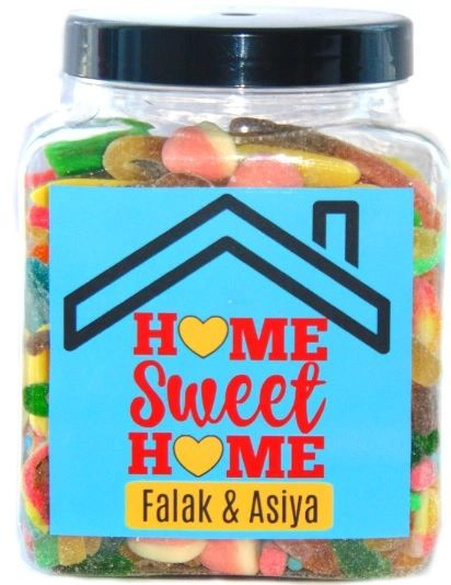 Personalised House Warming Home Sweet Home Sweets Jar Pick N Mix Halal Sweet Jar Gift