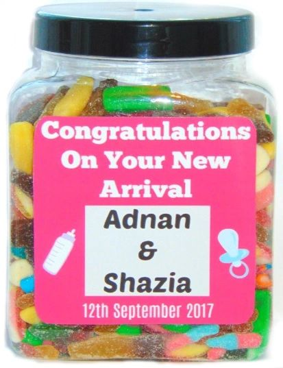 Personalised New Arrival Baby Large Jar Pick N Mix Halal Sweet Jar Gift