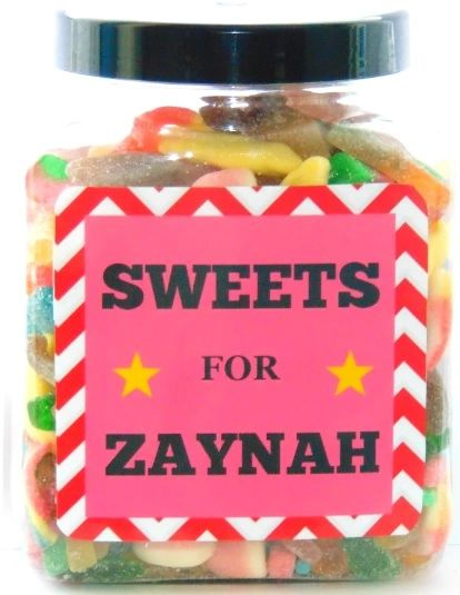 Personalised Girls Large Sweets Jar Pick N Mix Halal Sweet Jar Islamic Gift