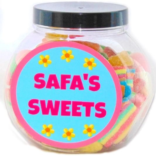 Personalised Girls Flowers Pick N Mix Halal Sweet Jar Gift