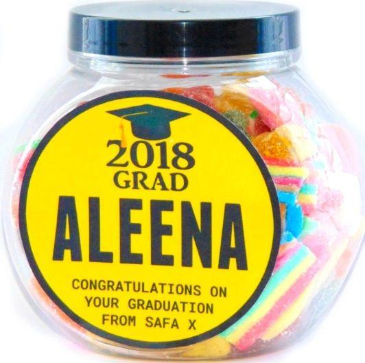 Personalised Graduation Halal Sweet Jar Congratulations Gift
