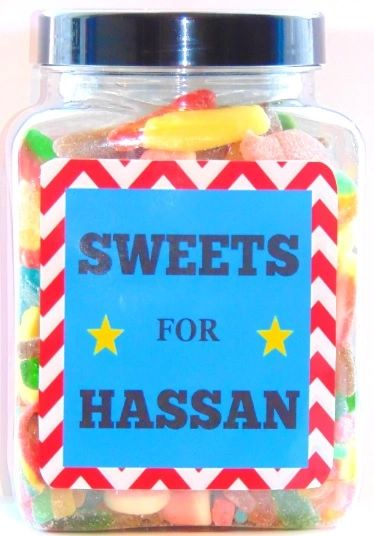 Personalised Boys Large Sweets Jar Pick N Mix Halal Sweet Jar Islamic Gift
