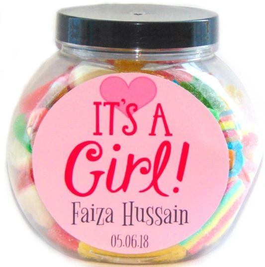 Personalised New Arrival Baby Girl Sweets Jar Pick N Mix Halal Sweet Jar Gift