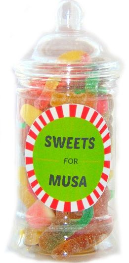 Personalised Sweets Jar Pick N Mix Halal Sweet Jar Boys Gift